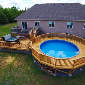 Deck Incorporating Above-Ground Pool and Hot Tub