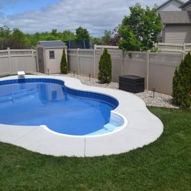 Fresh Sod and Landscaping Accent Pool