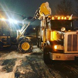 Snow removal at night