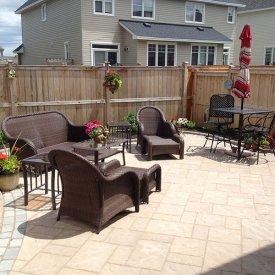 Full Interlock Backyard, Landscaping & Fence